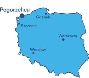 Mapa Polski z zaznaczeniem Pogorzelicy