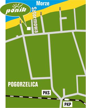 Apartamenty Ponik w pogorzelicy - mapa poglądowa